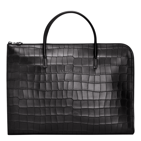 Croco Block Briefcase S in Black - Front - L2115945001