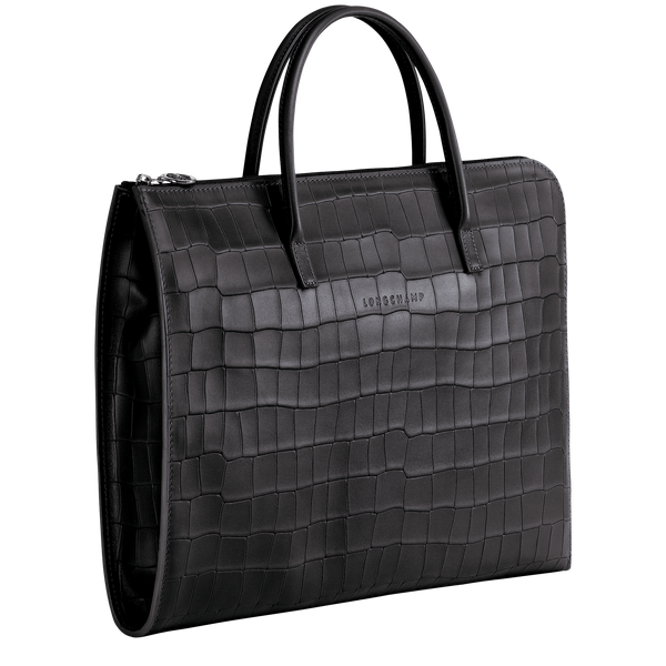 Croco Block Briefcase S in Black - Side - L2115945001
