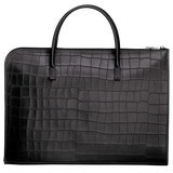 Croco Block Briefcase S in Black - Back - L2115945001