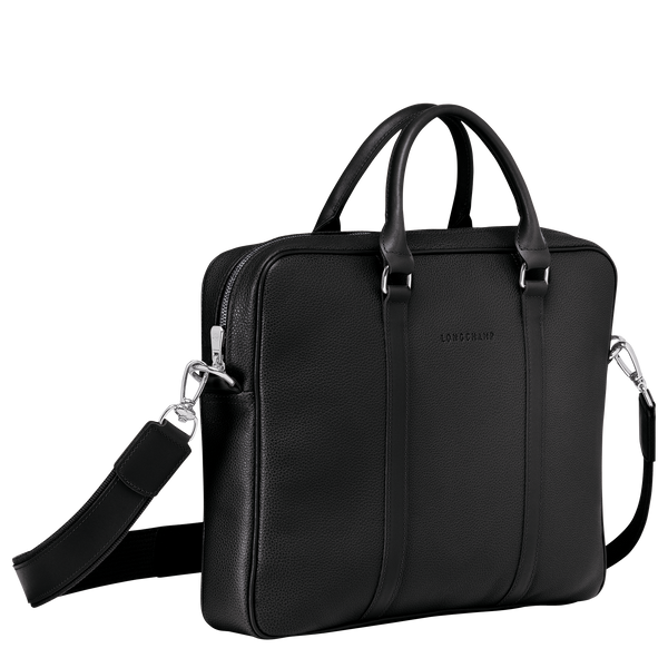 Le Foulonne Briefcase XS in Black - Side - L2121021047