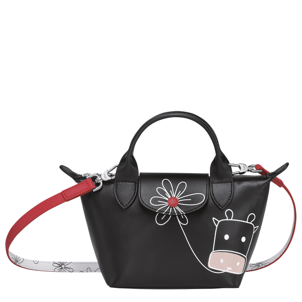 Le Pliage Cuir CNY Edition - Top Handle Bag XS in Black  - Front - L1500HVX001