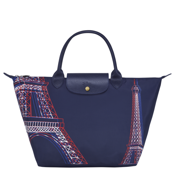 Longchamp Le Pliage Collection Top Handle Bag M in Navy, front view- L1623347556