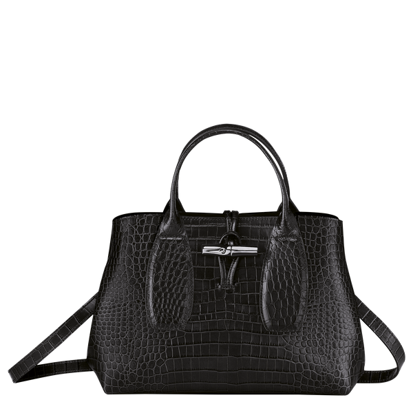 Roseau Top Handle Bag M in Black/Ebony - Front - 10058HTS001