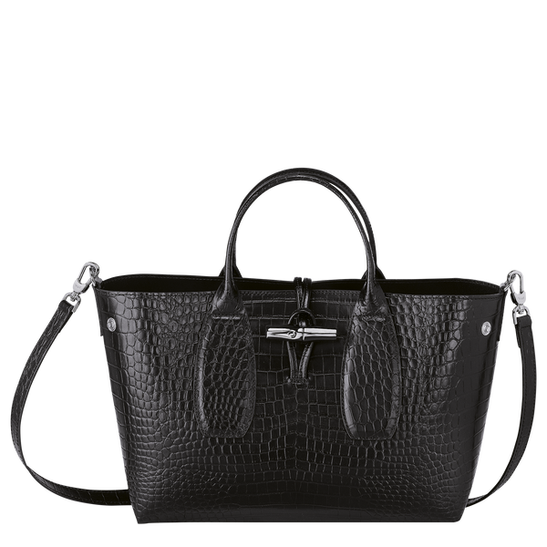 Roseau Top Handle Bag M in Black/Ebony - Front open - 10058HTS001