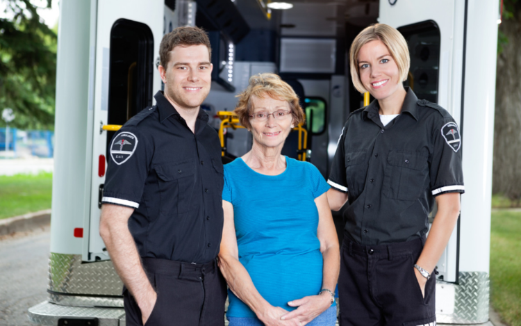 Older woman with EMS team