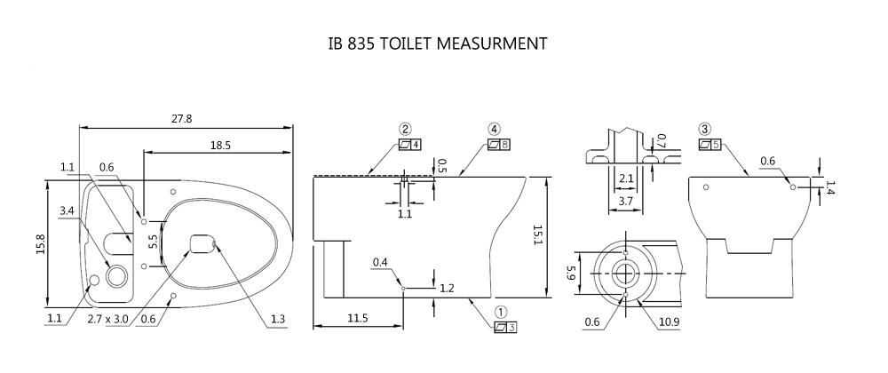 BioBidet IB-835 Toilet Measurements