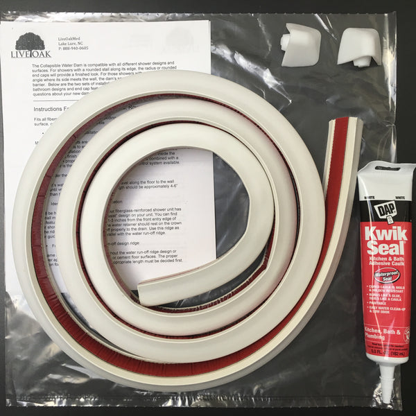 collapsible water dam adhesive kit