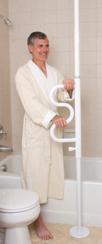 Stander Security Pole & Curve Grab Bar-White 1100-W Toilet 2