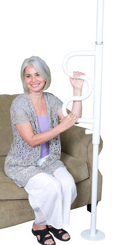 Stander Security Pole & Curve Grab Bar-White 1100-W Couch 1