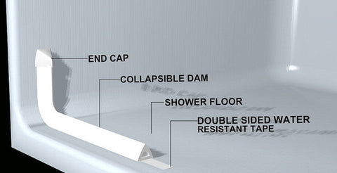 Foam tubing collapsible water dam for roll in showers diagram