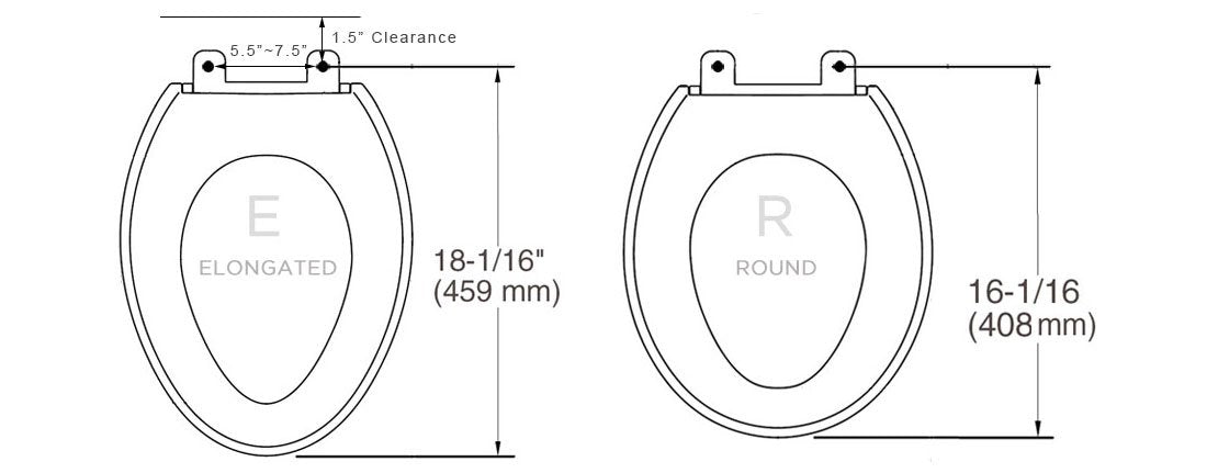 BB-1000 Toilet Seat Measurements