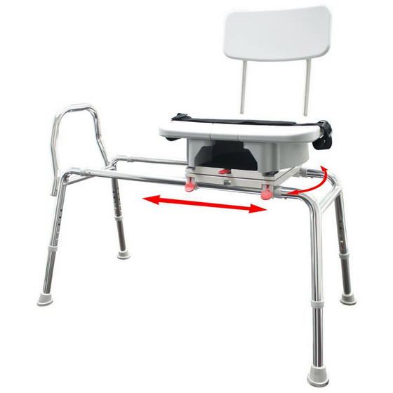 Sliding Transfer Bench with Replaceable Cutout Swivel Seat