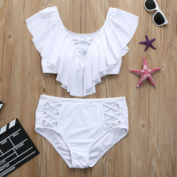 Plus Size Ruffle Lace Up Two Piece Bathing Suit