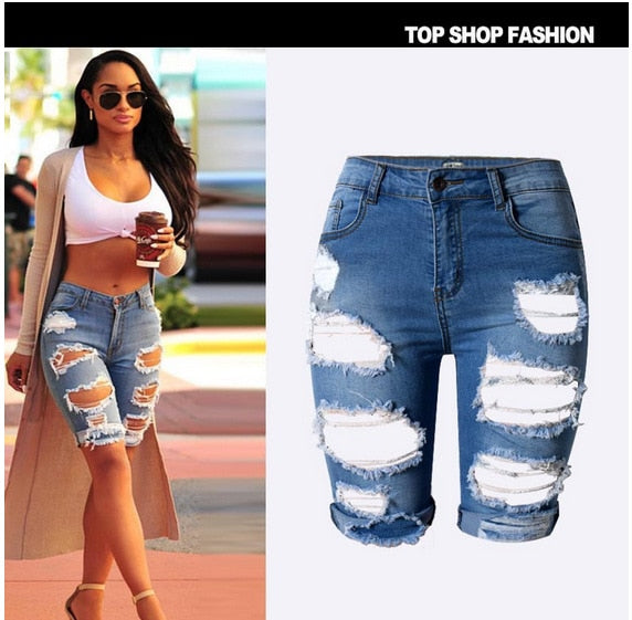 High Waist Bermuda Ripped Jean Shorts