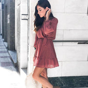 Bohemian Ruffle Mini Dress