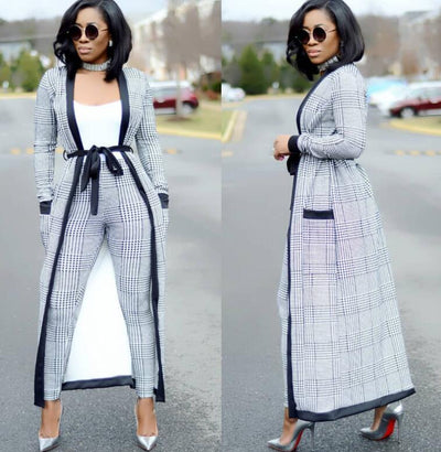 Striped Pants with Long Coat