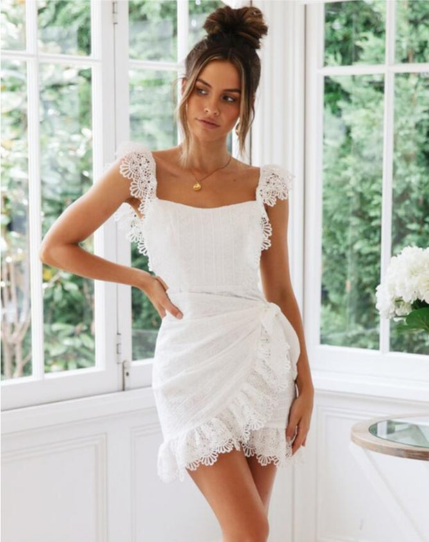 Backless White Lace Summer Dress