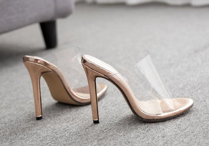 Transparent Crystal Heel Sandals