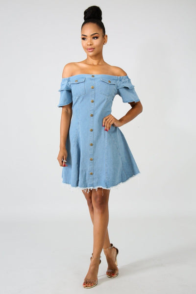 Off The Shoulder Jean Dress