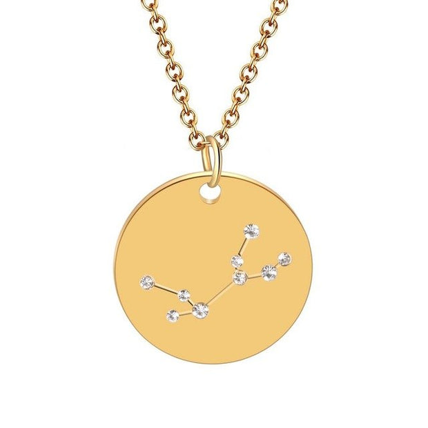 Zodiac Disc Stainless Steel Necklace