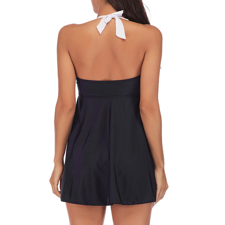 Halter Neck Striped Tankini
