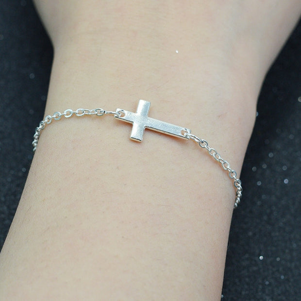 Delicate Stainless Steel Cross Bracelet