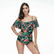 One Piece Green Floral Swimsuit
