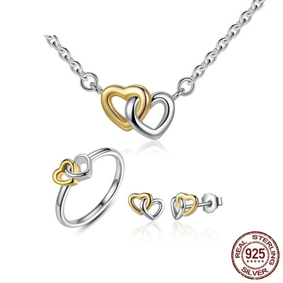 Sterling Silver Entwined Heart Jewelry Set