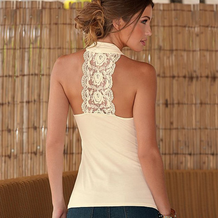 Halter Neck Lace Stitching Top