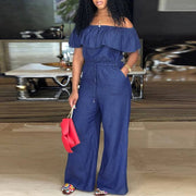 Plus Size Denim Off Shoulder Jumpsuit