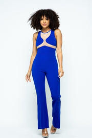 Stretchable Jumpsuit With Mesh Details