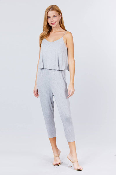Cami Layered Top Capri Knit Jumpsuit