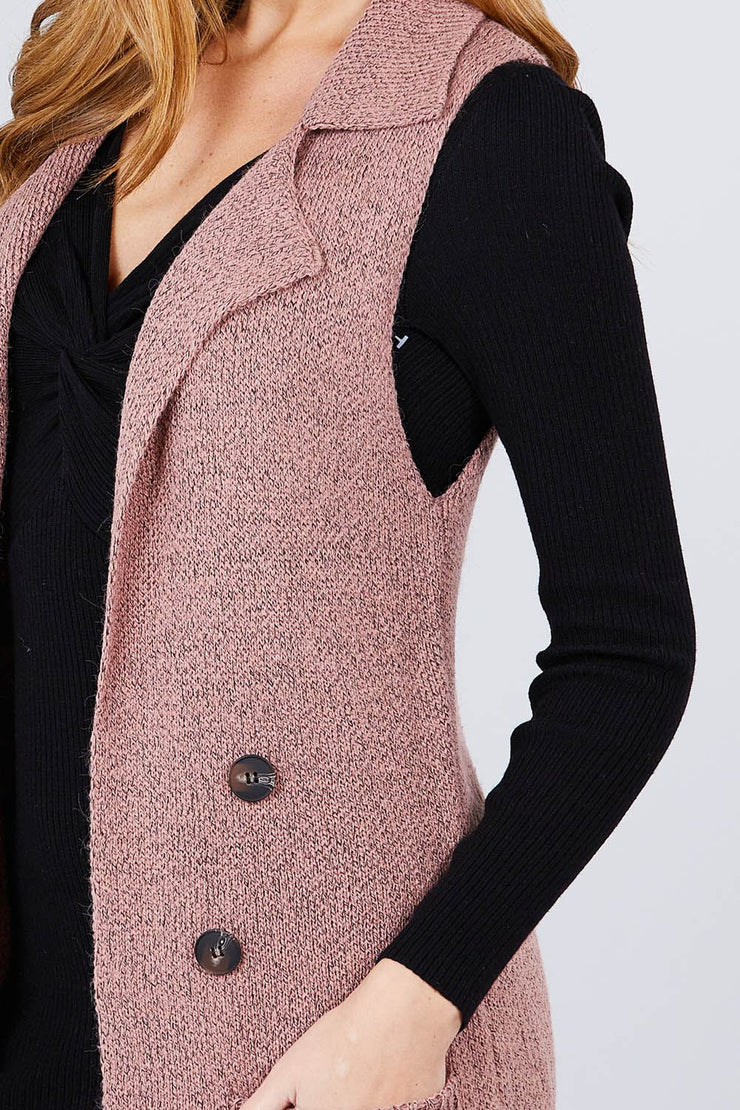 Sleeveless Notched Collar With Side Pocket Long Sweater Vest