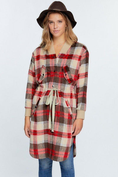 Tartan Plaid Print Oversize Sweater Shirt