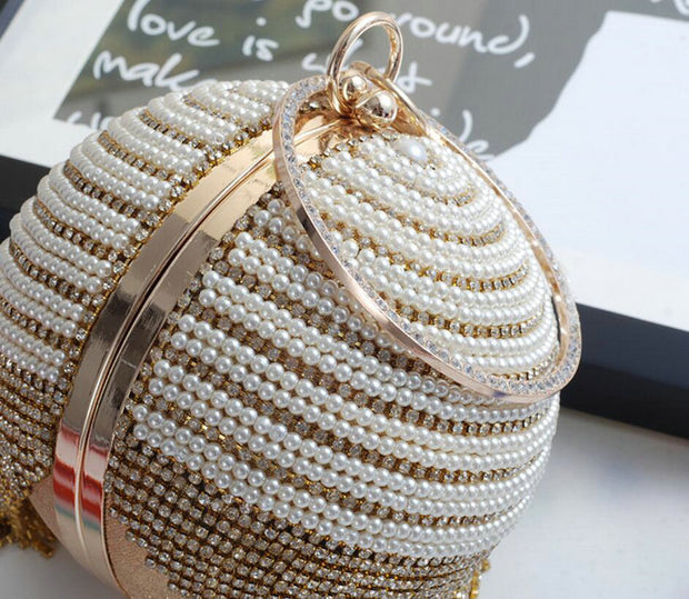 Ariana Beaded Pearl Clutch