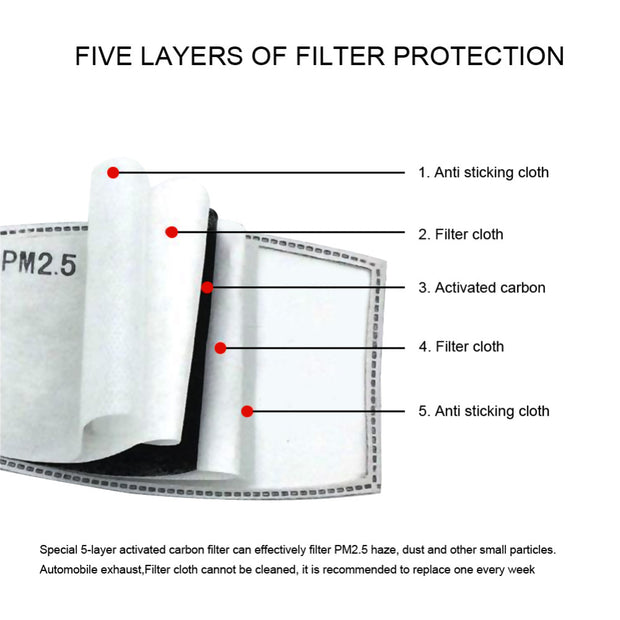 10 PCS Lot 5 Layer Non woven Anti-Dust PM 2.5 Activated Carbon Filter For Mask