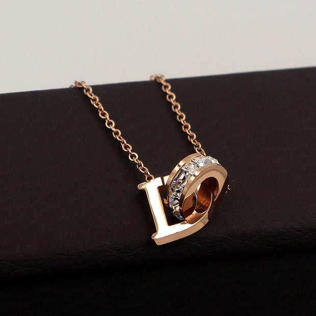 18K Plated Rose Gold 'D' Necklace