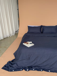 Linen Quilt Cover - Blueberry