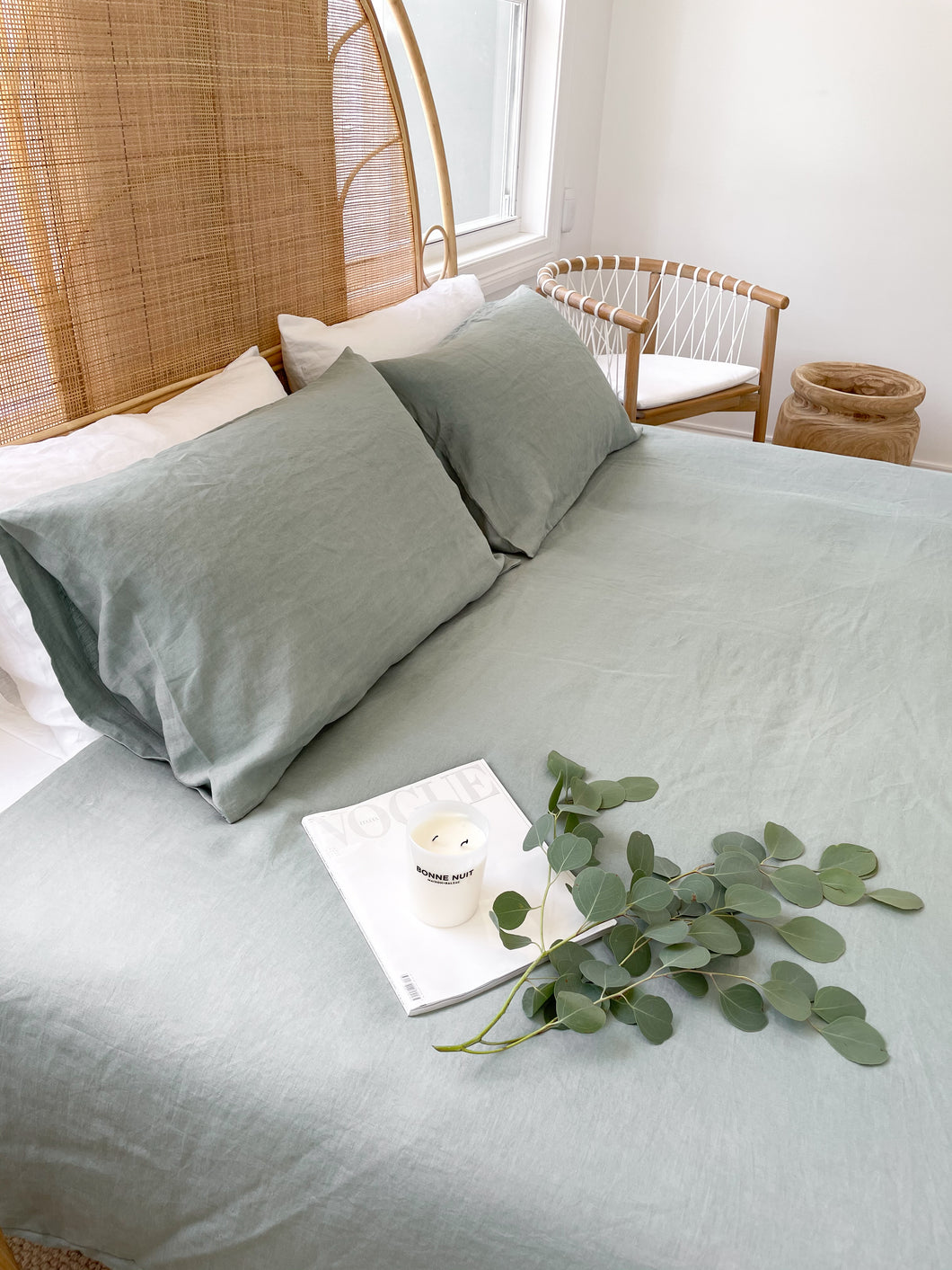 Pair of Linen Pillowcases - Eucalyptus