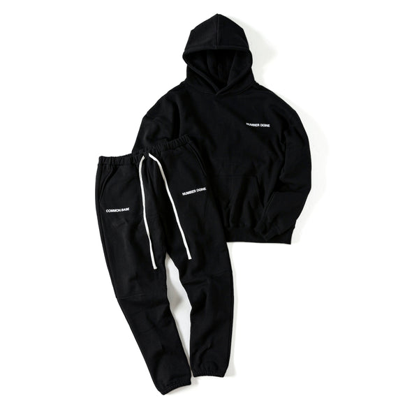 先行予約|NUMBER (N)INE ×COMMON BASE  PULL-OVER SWEAT HOODIE + PANTS (SET-UP) NNCBI-00 BLACK×WHITE