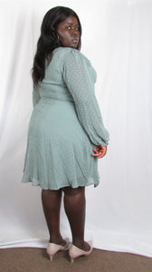 Plus size long sleeve v-neck dress