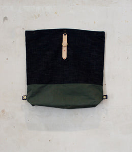 Selvedge Denim and Olive Bag unfolded back view