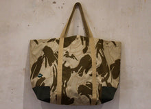 Load image into Gallery viewer, Coll Bahrain Camo oversized bag with olive cotton canvas corners Front
