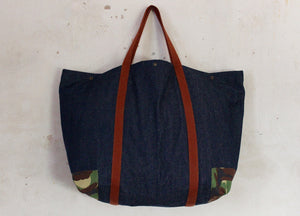 Coll Denim oversized bag with camo corners back