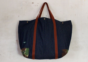 Coll Denim oversized bag with camo corners front