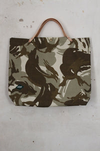 Fountainwell Tote, Camo with Natural Leather Front