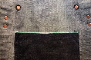 Kib inside pocket detail, green line selvedge denim pocket, copper rivets and leather backed copper rivets for strength