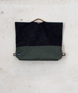 Selvedge Denim and Olive Bag Folded front view