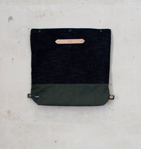 Selvedge Denim and Olive Bag Unfolded front view
