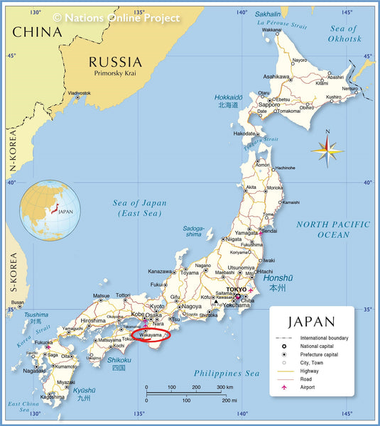 Map of Japan. Wakayama is circled in red.